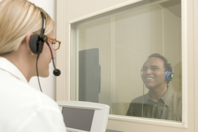 Conducting a Hearing Test in a Sound Booth